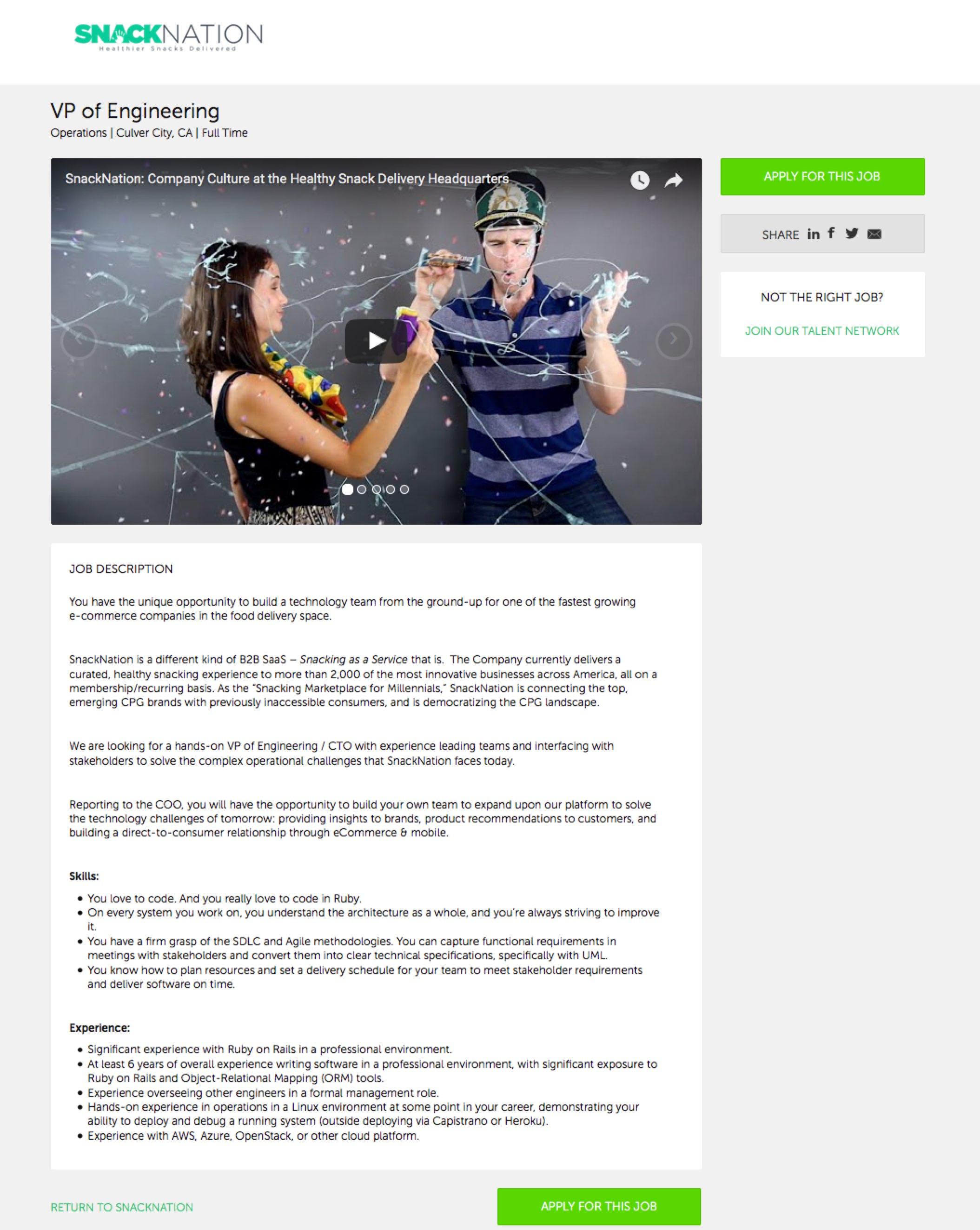 Best Job Descriptions Sample Snack Nation VP of Engineering Ongig Blog