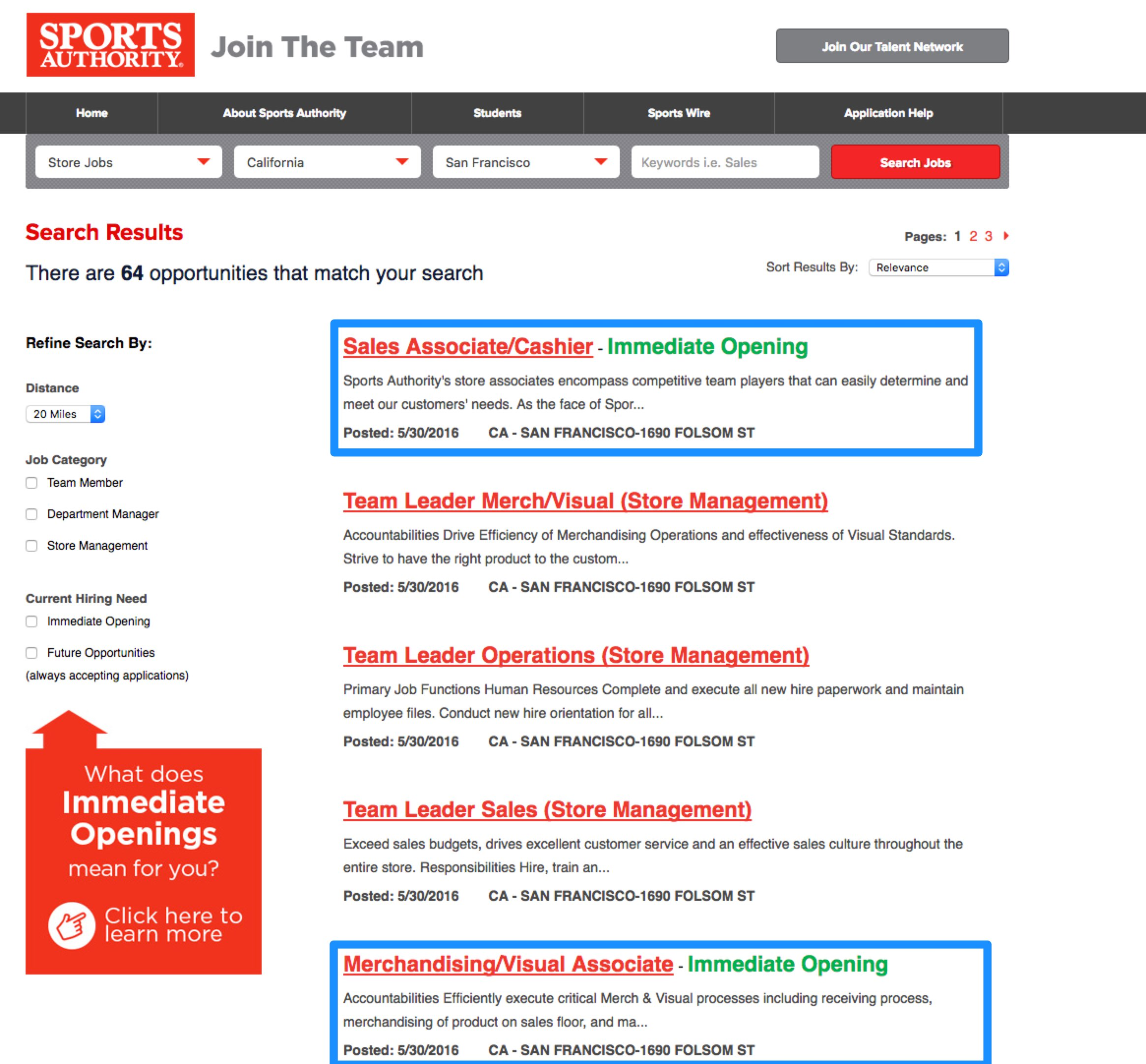 Candidate Experience Job Search Retail Sports Authority Ongig Blog
