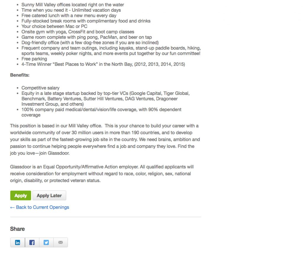 Sample Job Description With Video Glassdoor | Ongig