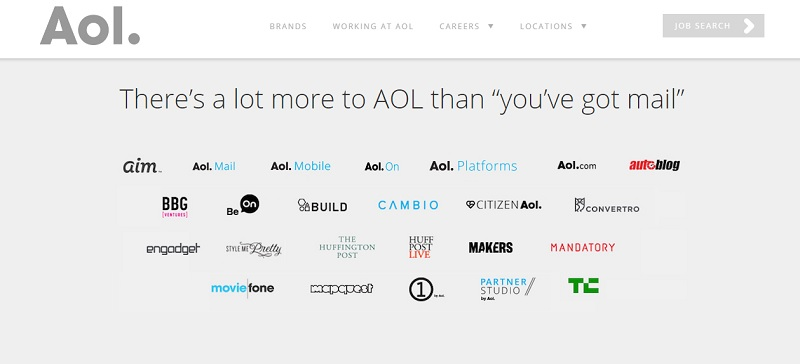 AOL Careers Page Sub Brands