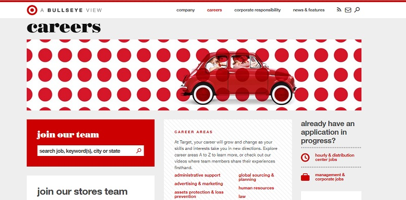 Target Careers Page Color Scheme