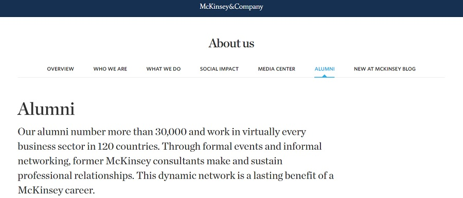 Mckinsey and Company Alumni Page