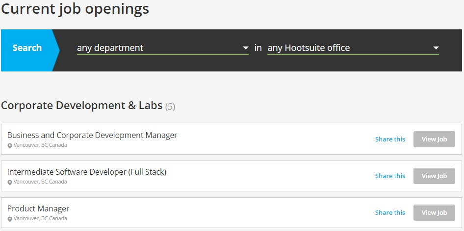 Hootsuite Careers Page Current Openings