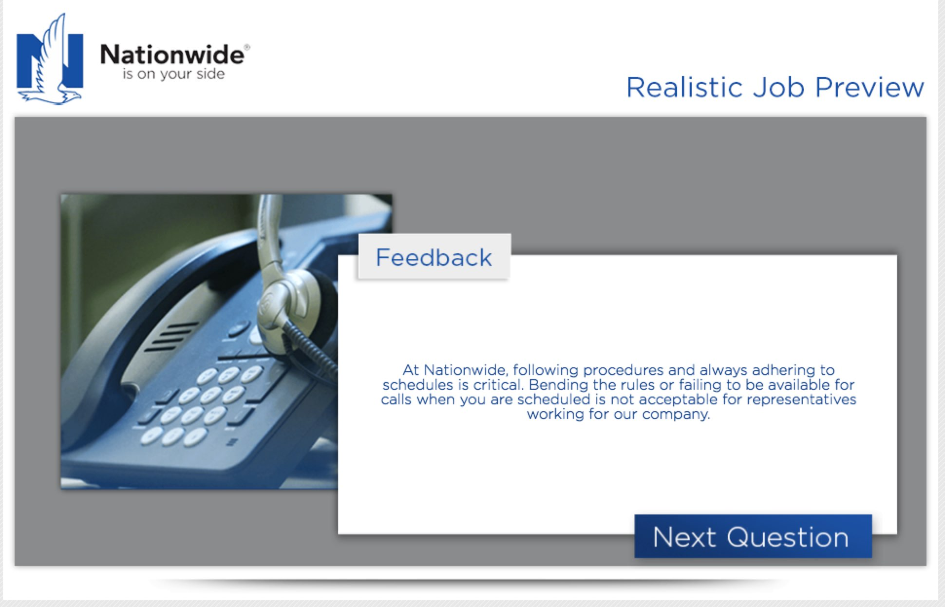RJP Realistic Job Preview example Nationwide Insurance | Ongig