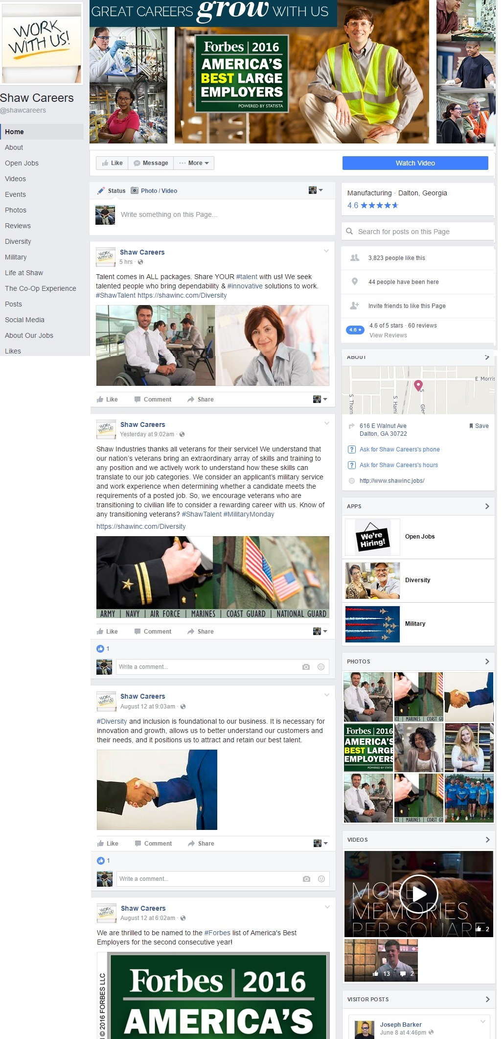 Shaw Industries Facebook Company Careers Page