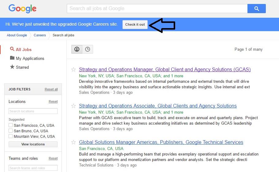 Google New Careers Site Ongig Blog