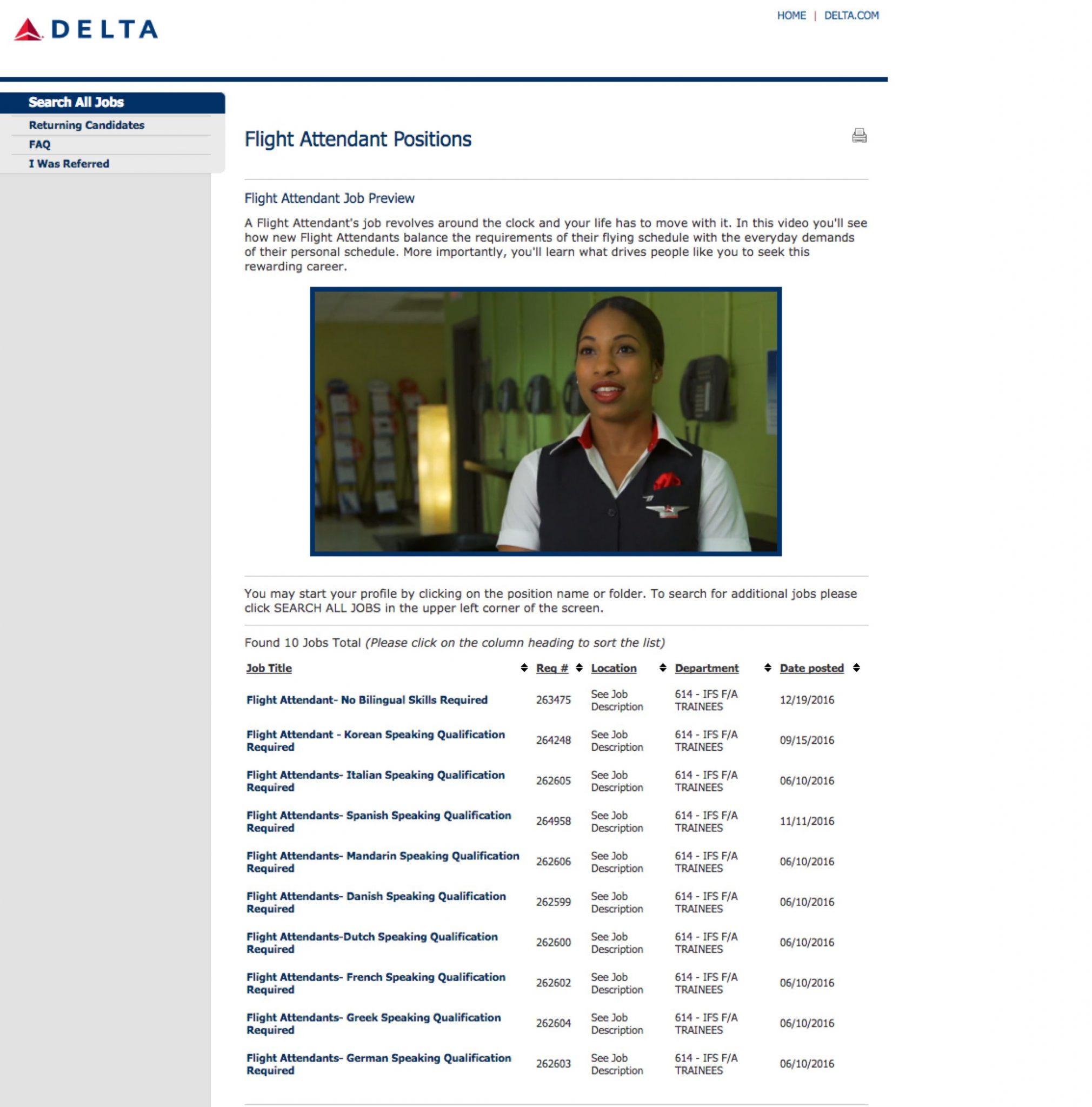 Delta Video Job Previews Flight Attendants | Ongig Blog
