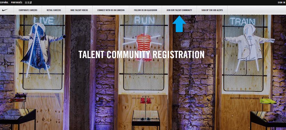 Talent Community Above Fold Nike - Ongig Blog