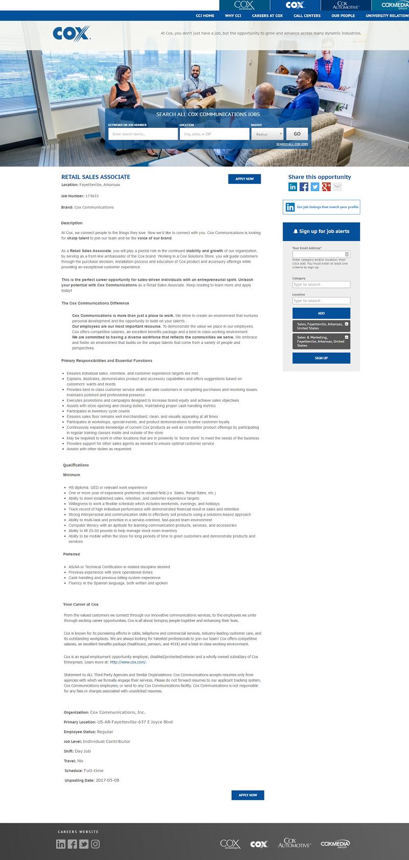 Taleo ATS Cox Communications Job Description - Ongig