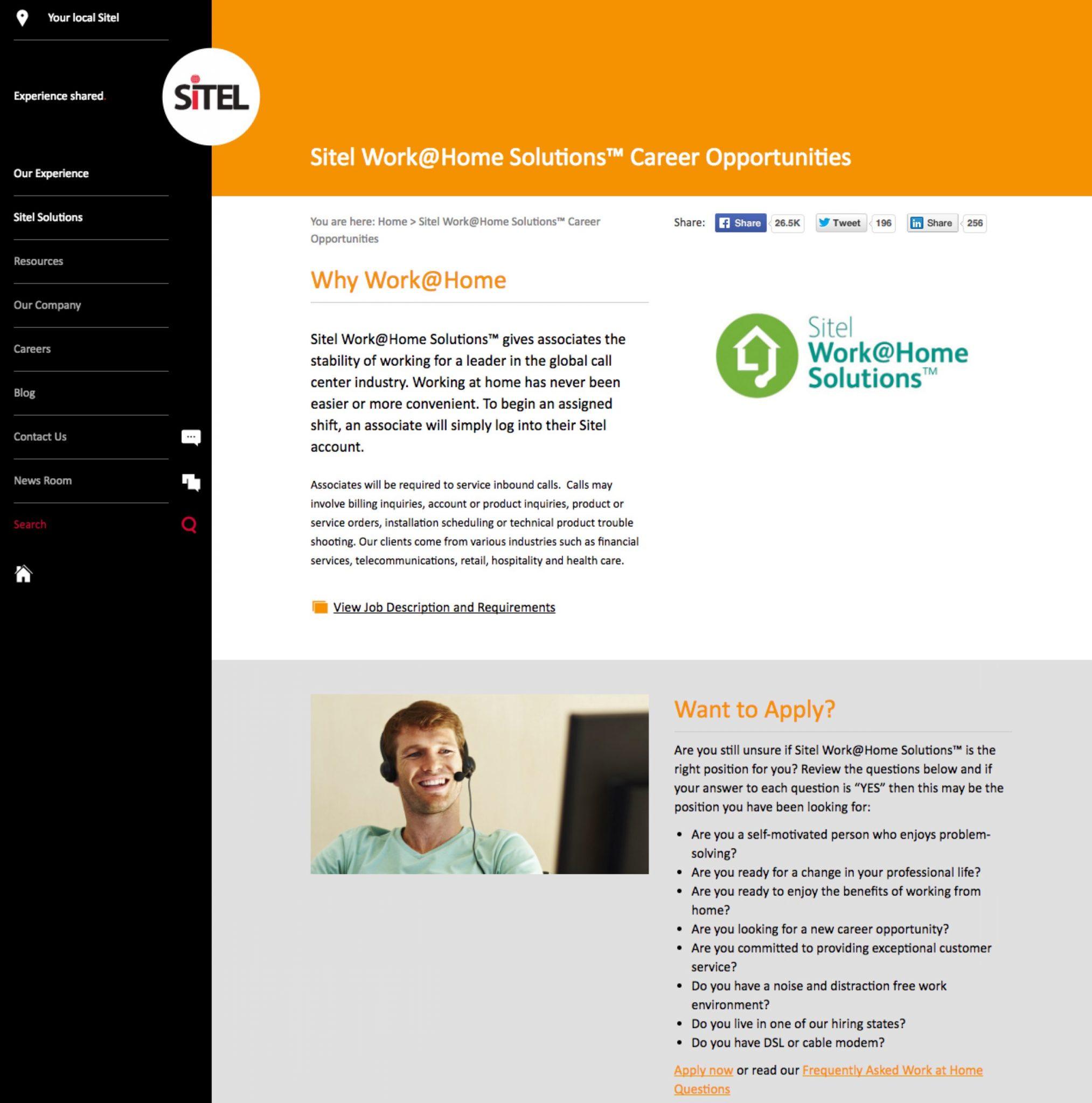 Work at Home Virtual Microsites | SiTEL | Ongig Blog