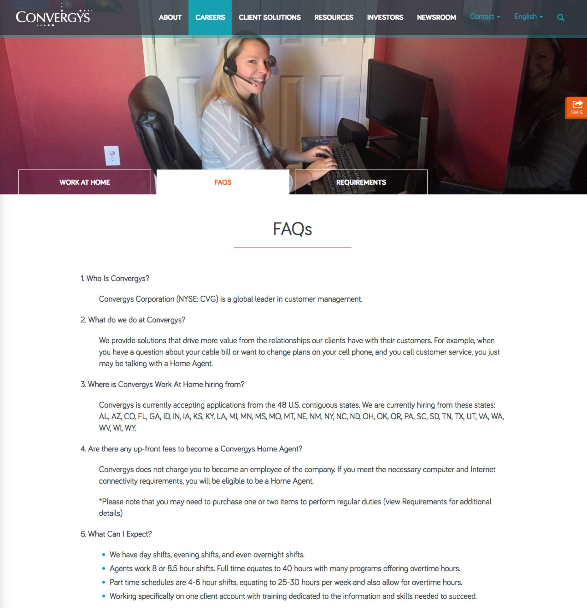 Work from Home Virtual Microsites | Convergys FAQ | Ongig Blog