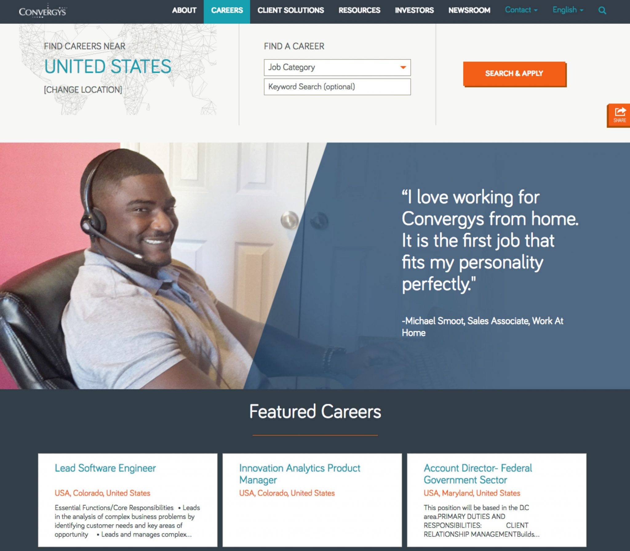 Work from Home Virtual Microsites | Convergys | Ongig Blog