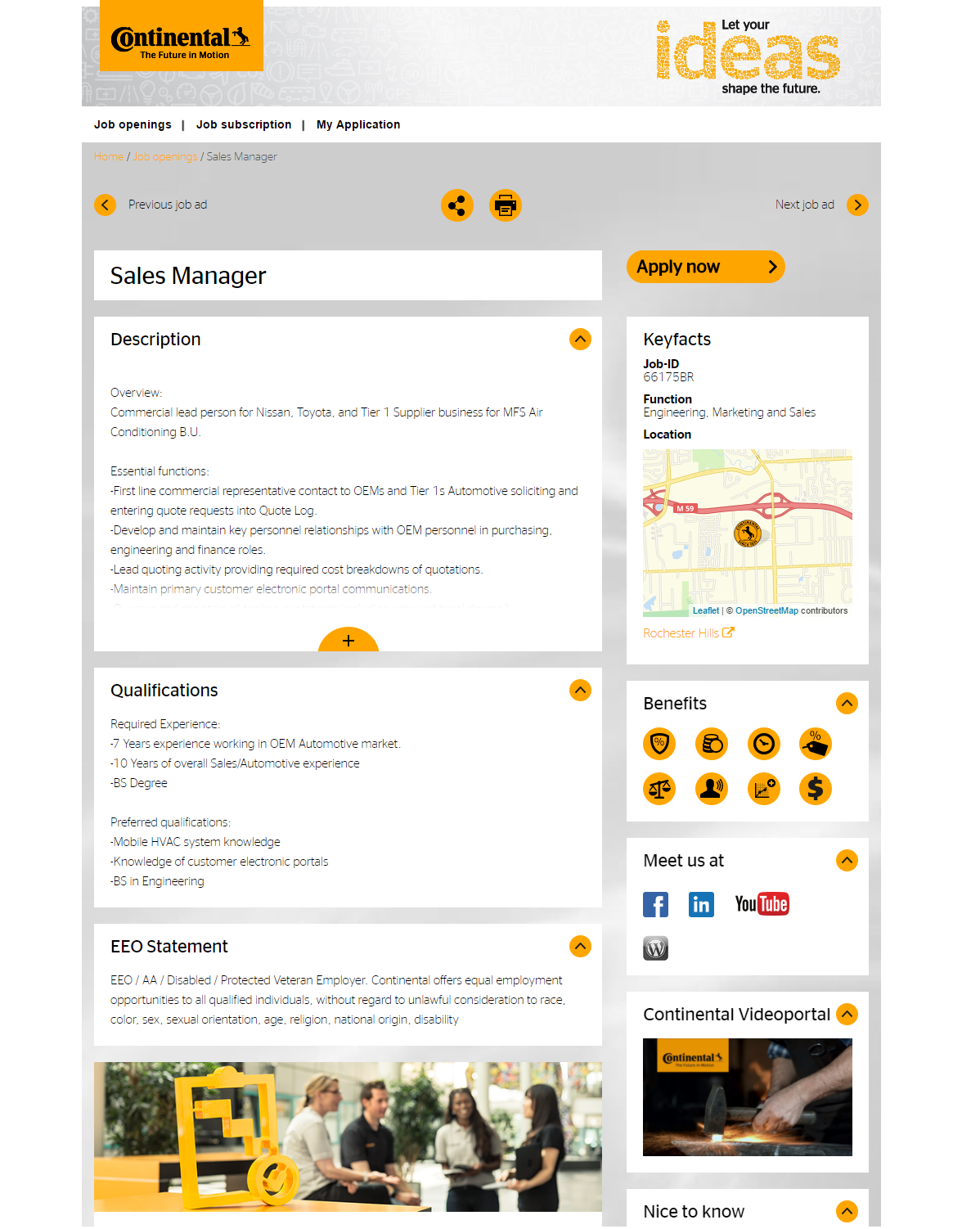 Sales Manager Job Ad Continental