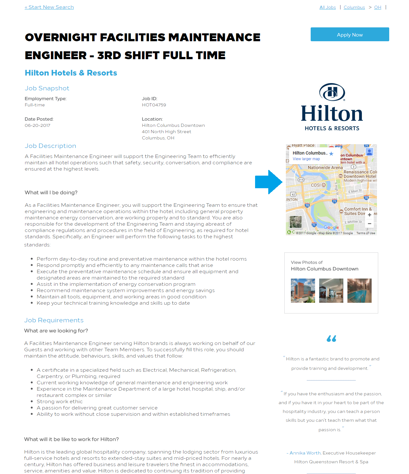 Map on Hilton Job Description