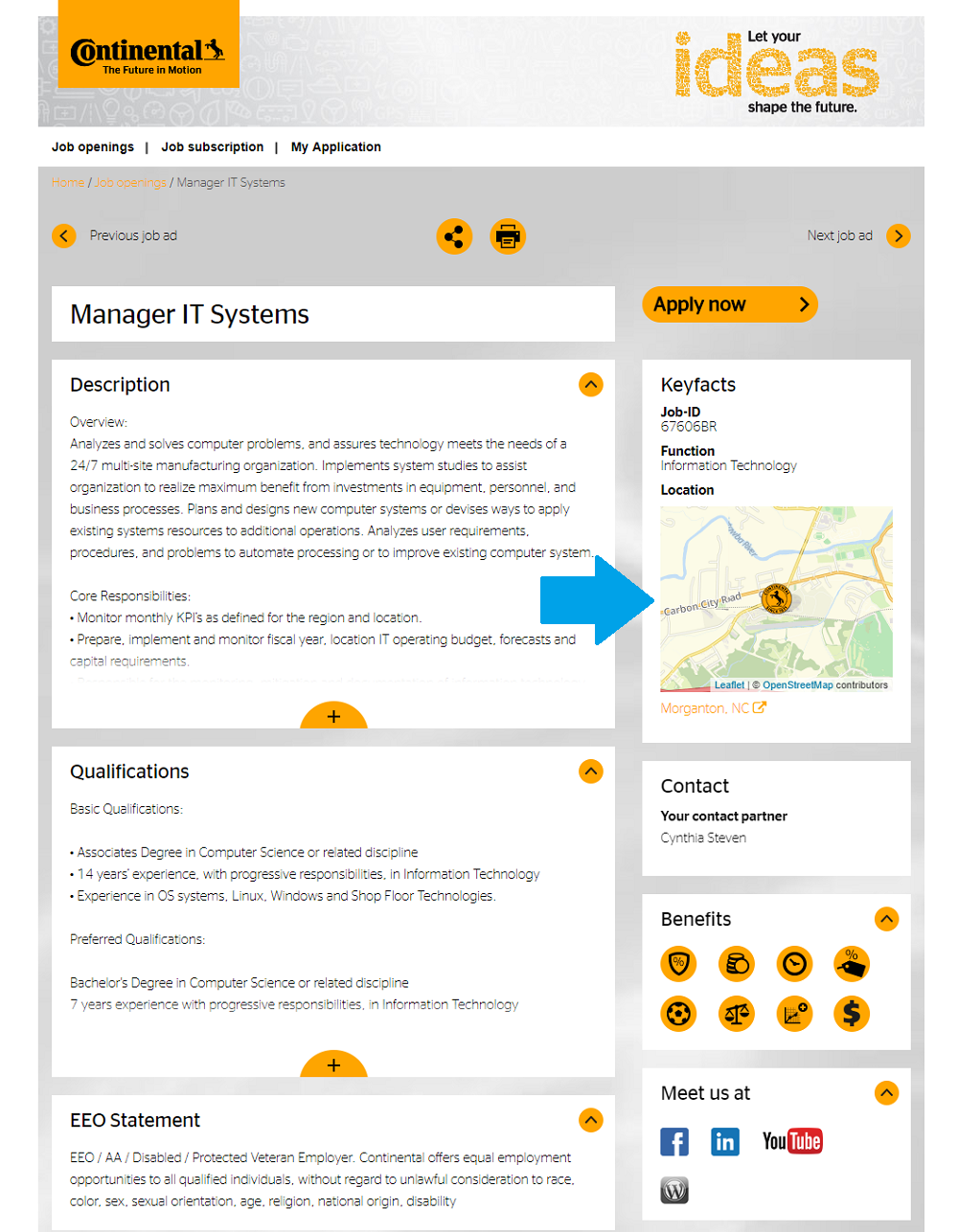Continental Tires job description with map