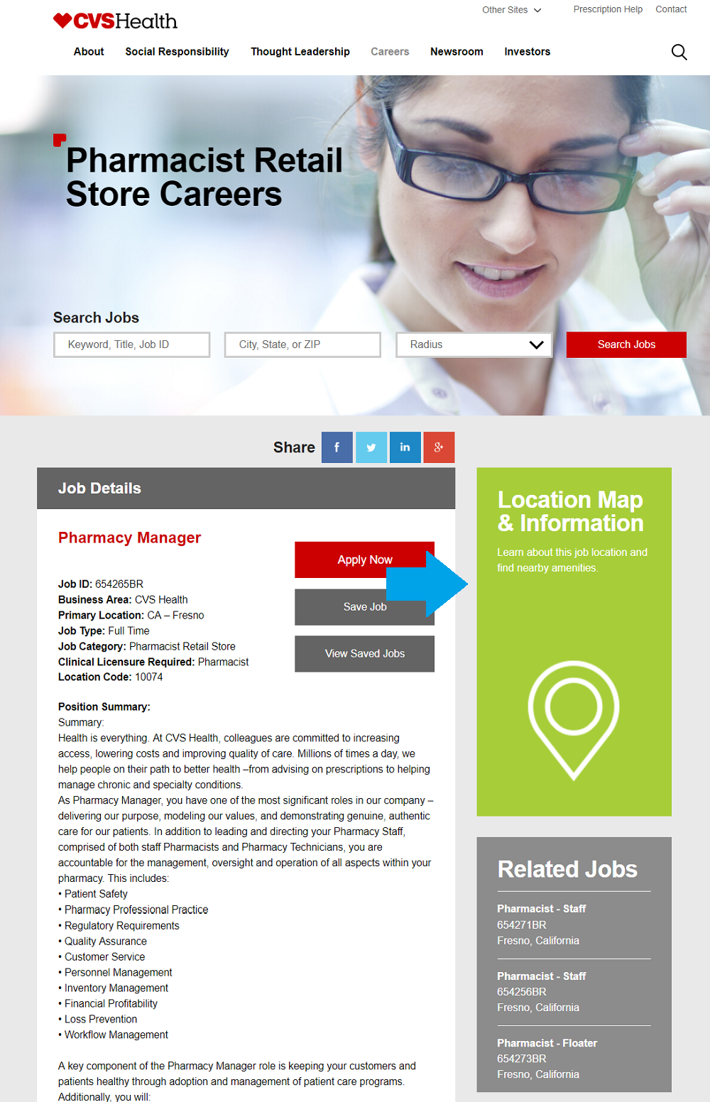 CVS job description with map widget