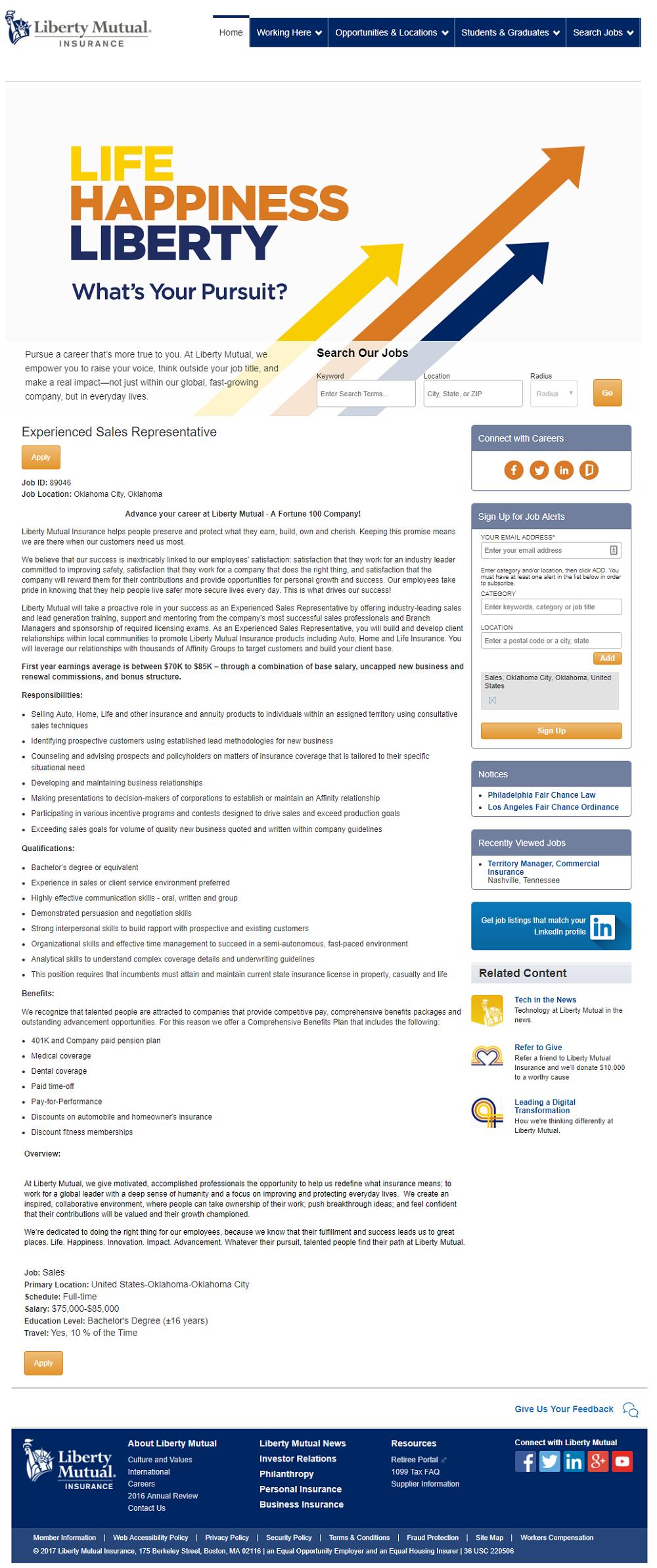Liberty Mutual Taleo ATS Job Page - Ongig