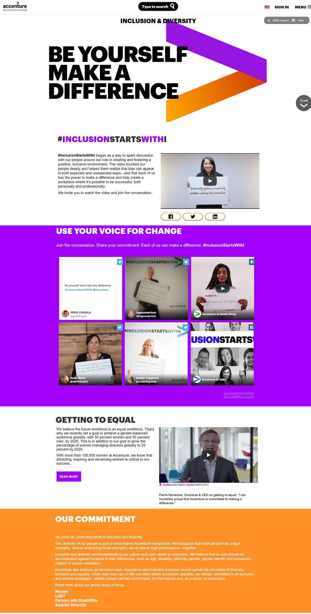 Accenture Company Diversity Page