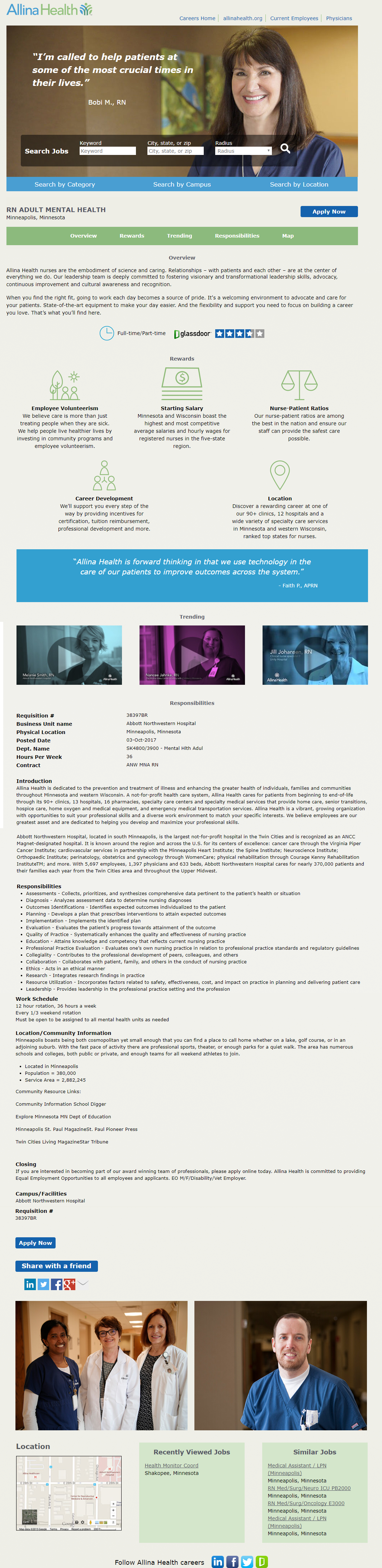 Allina Health Kenexa Brassring ATS Job Page