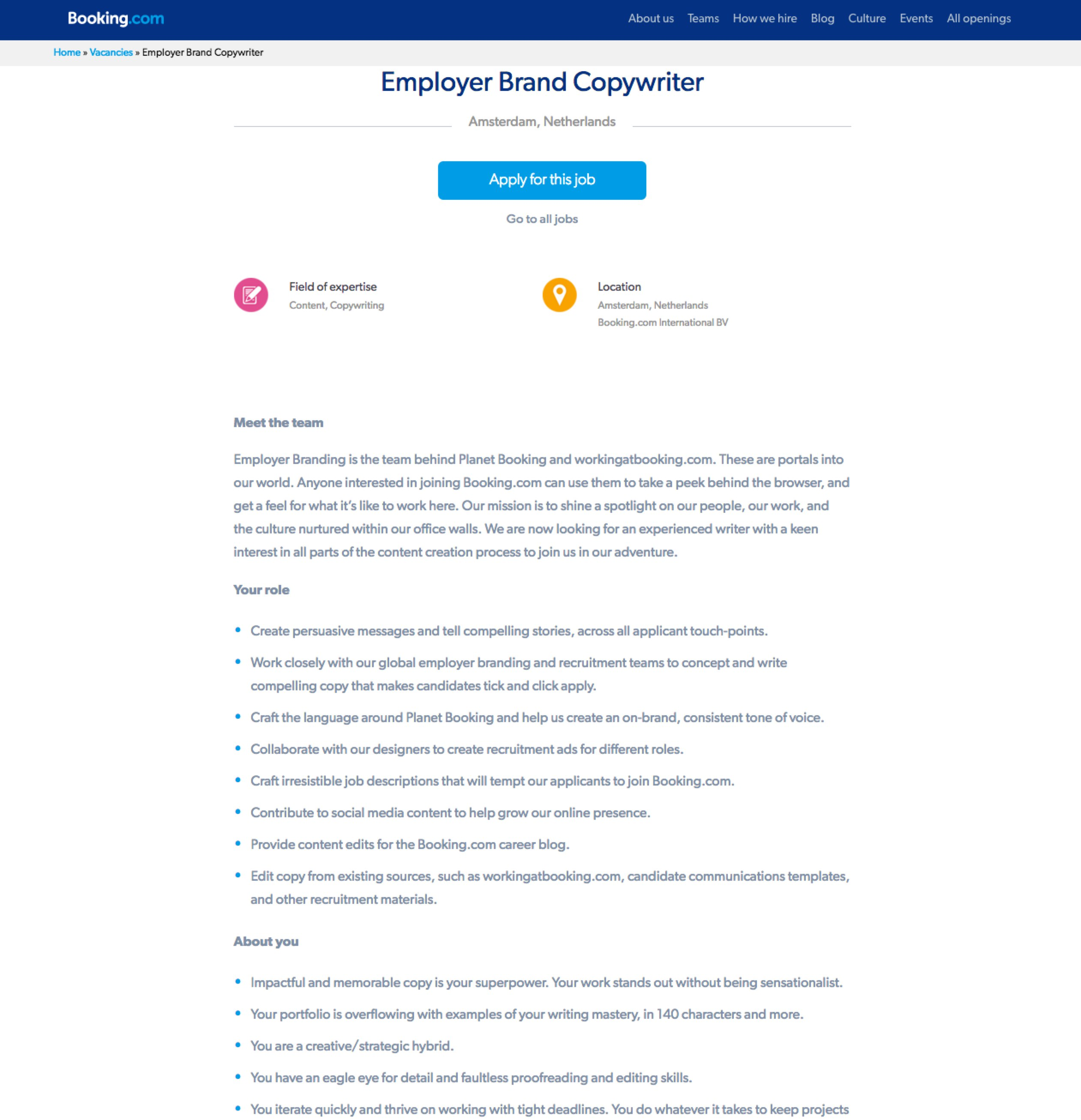 Employer Brand Copywriter Job Description Booking.com | Ongig