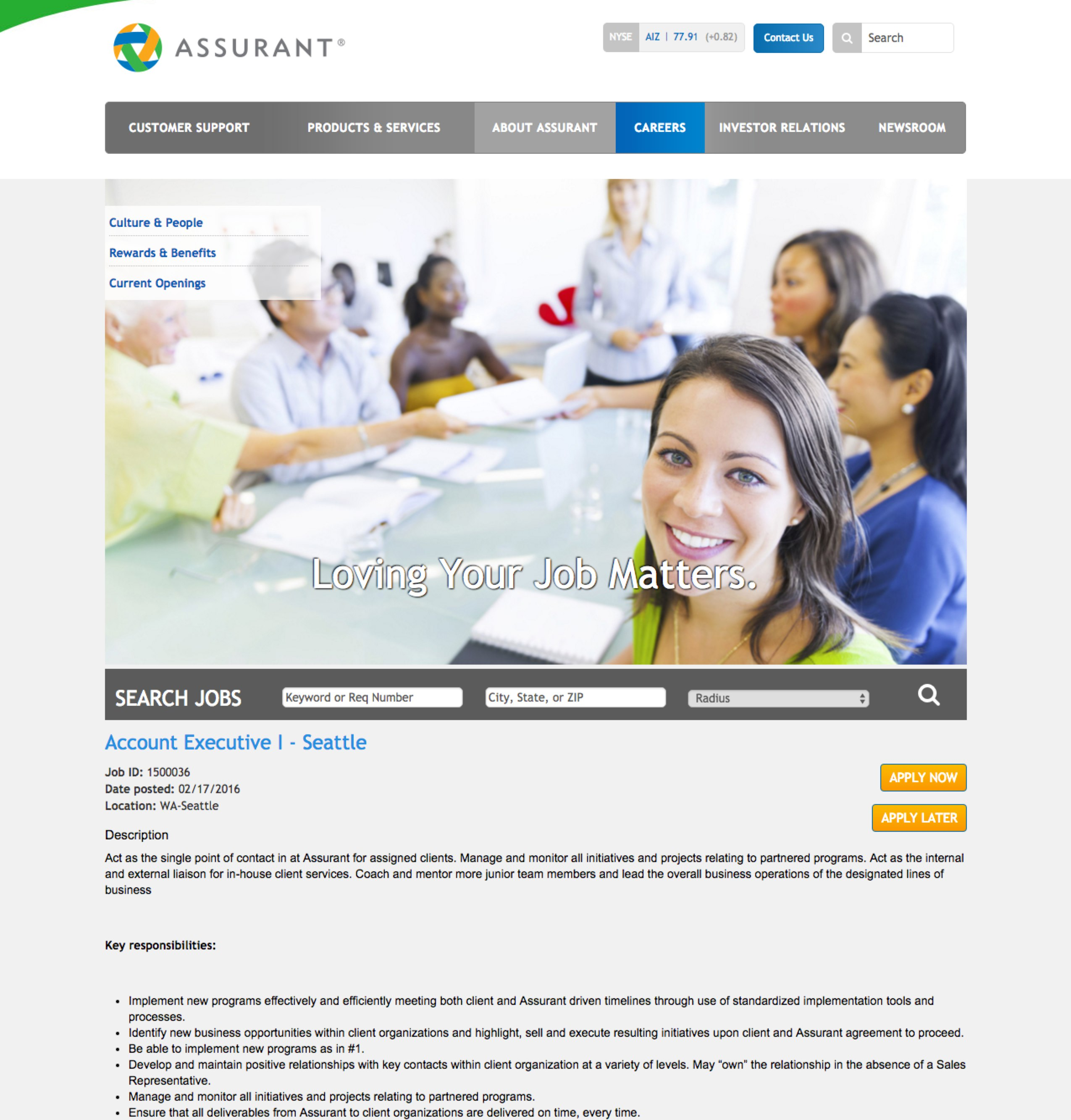 Sample Job Description 1 by Assurant | Talent Brew | Ongig
