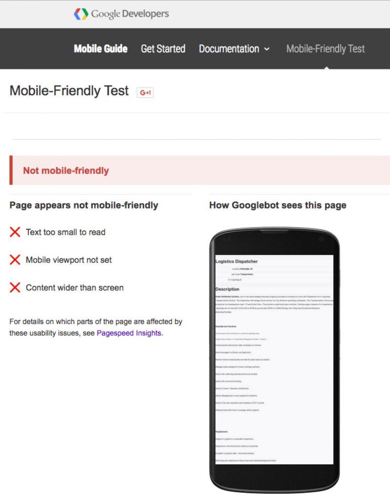 Mobile Recruiting Job Descriptions Google Mobile Friendly Test