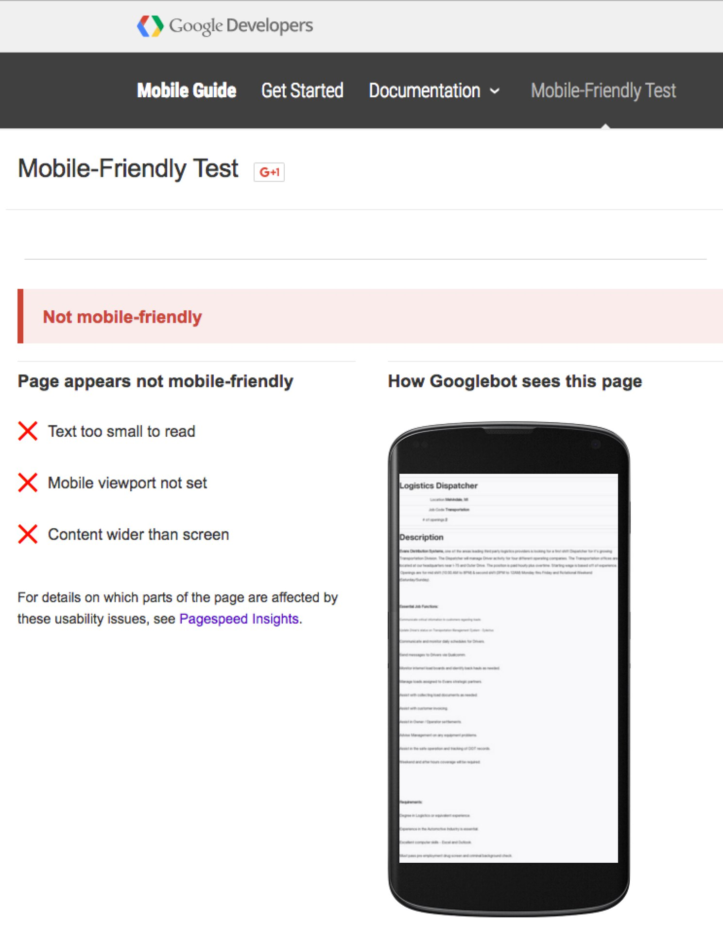 Mobile Recruiting Job Descriptions Google Mobile Friendly Test