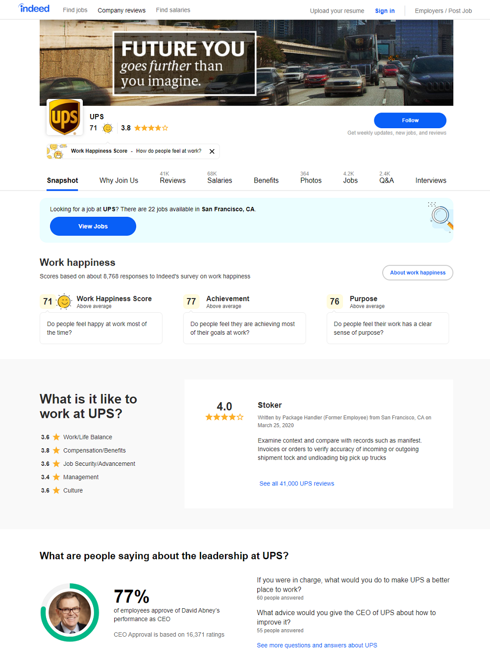 indeed company review page