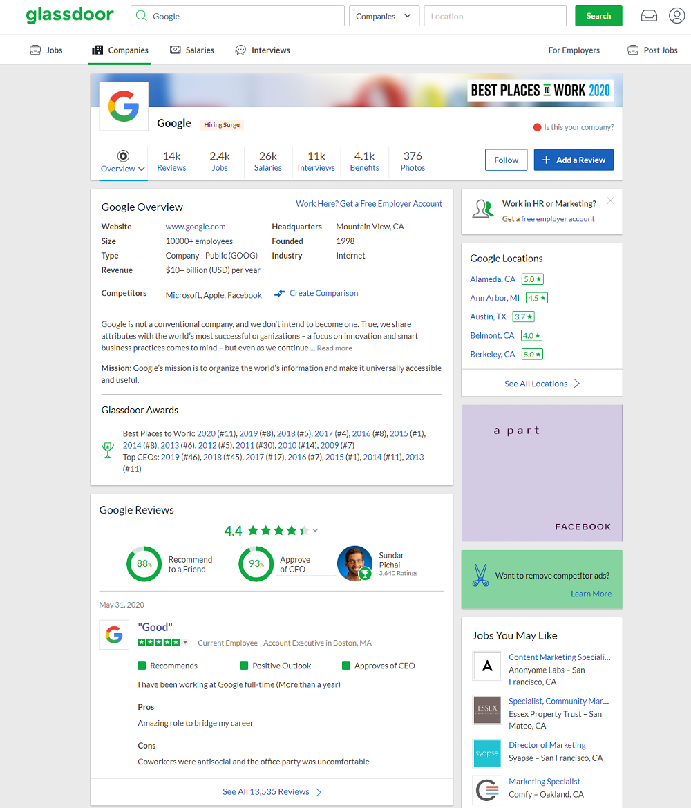 Google employer ratings and reviews Glassdoor page