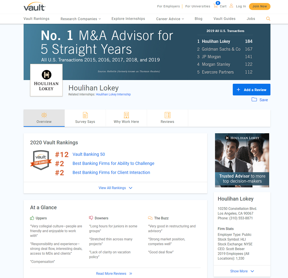 houlihan lokey employer reviews and ratings Vault page