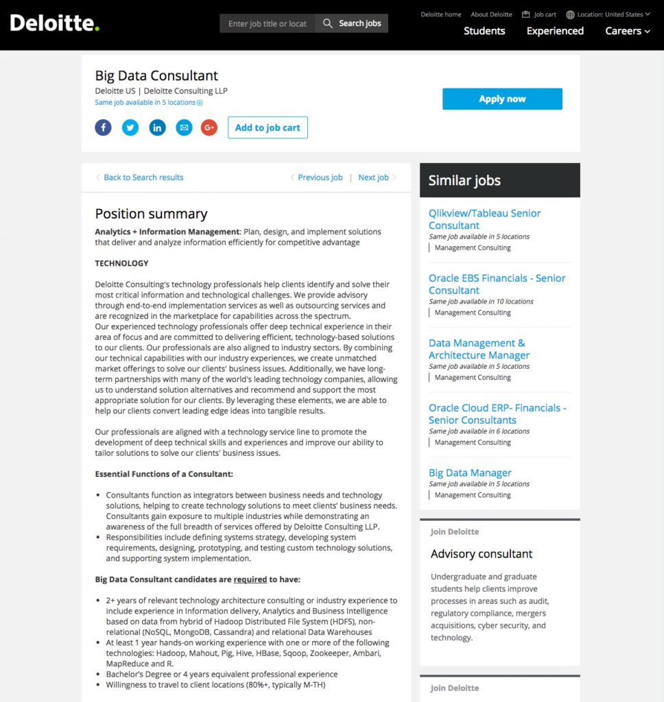 Sample Best Job Descriptions Deloitte Ongig Blog