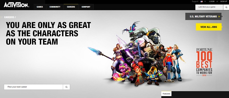 Activision Careers Homepage Ongig Blog