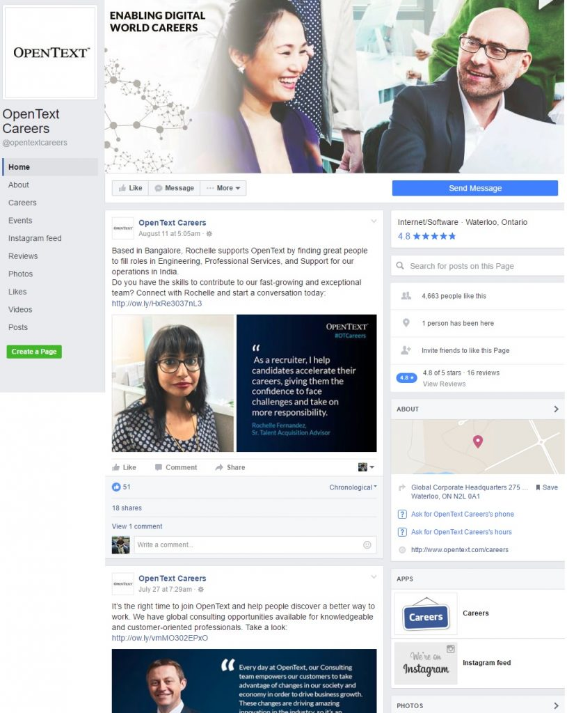 Opentext Facebook Careers Page Whole Ongig Blog