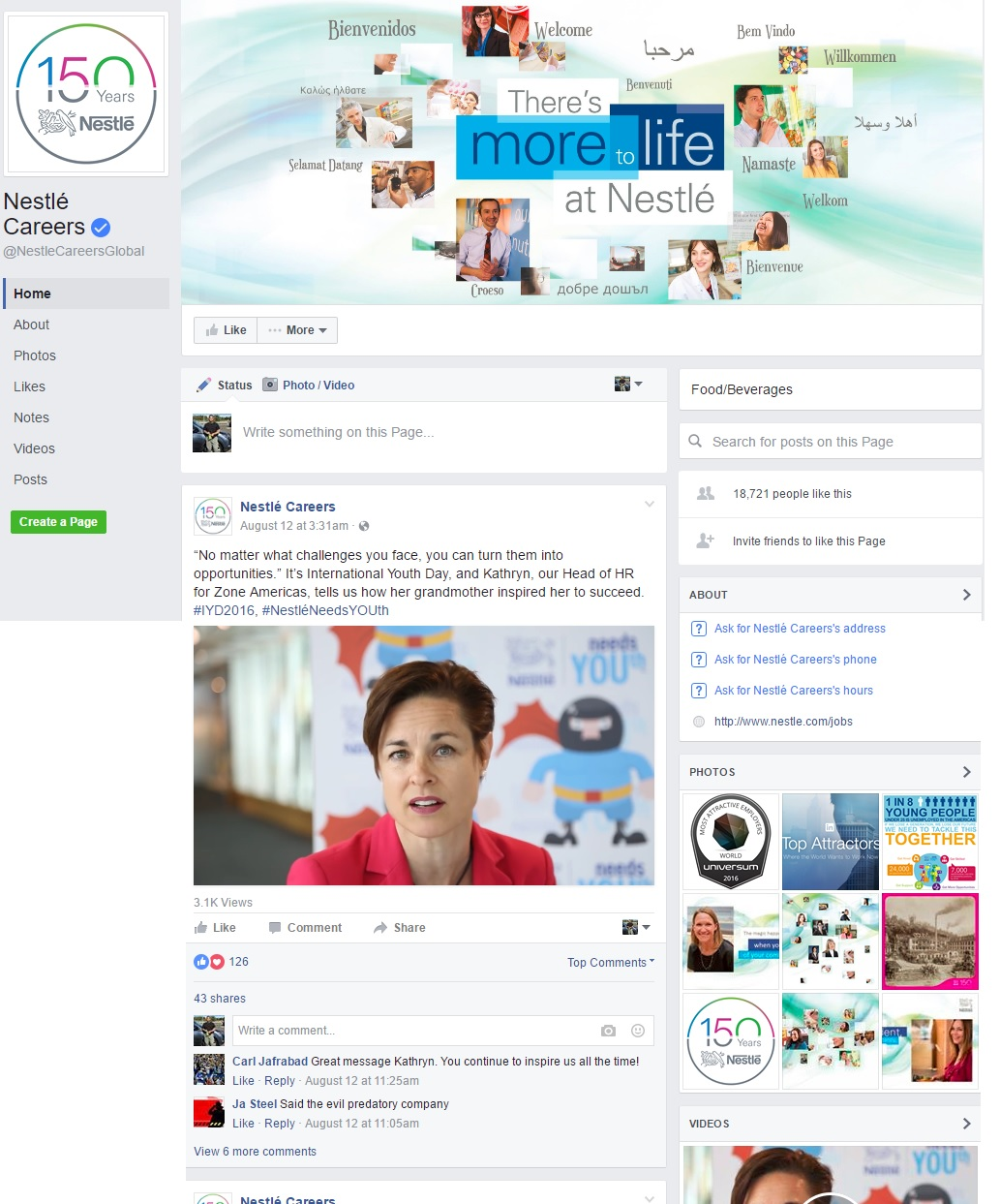 Nestle Facebook Careers Page Whole Ongig Blog