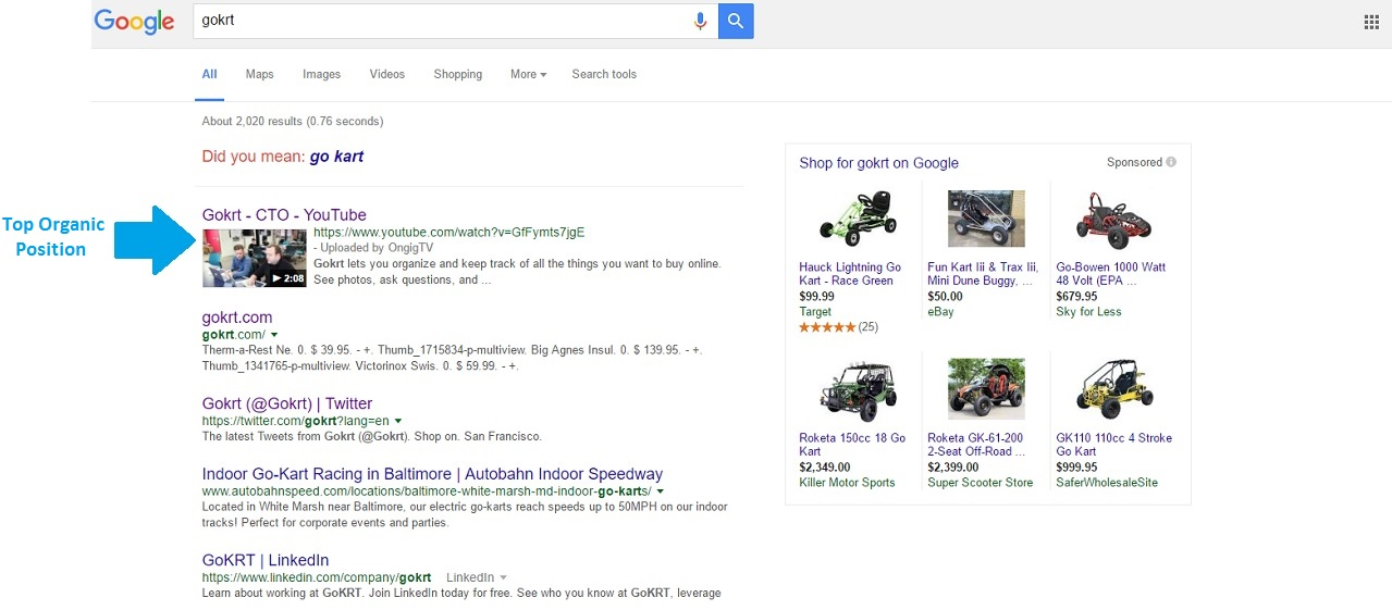 GoKrt Top Organic Position in Google search