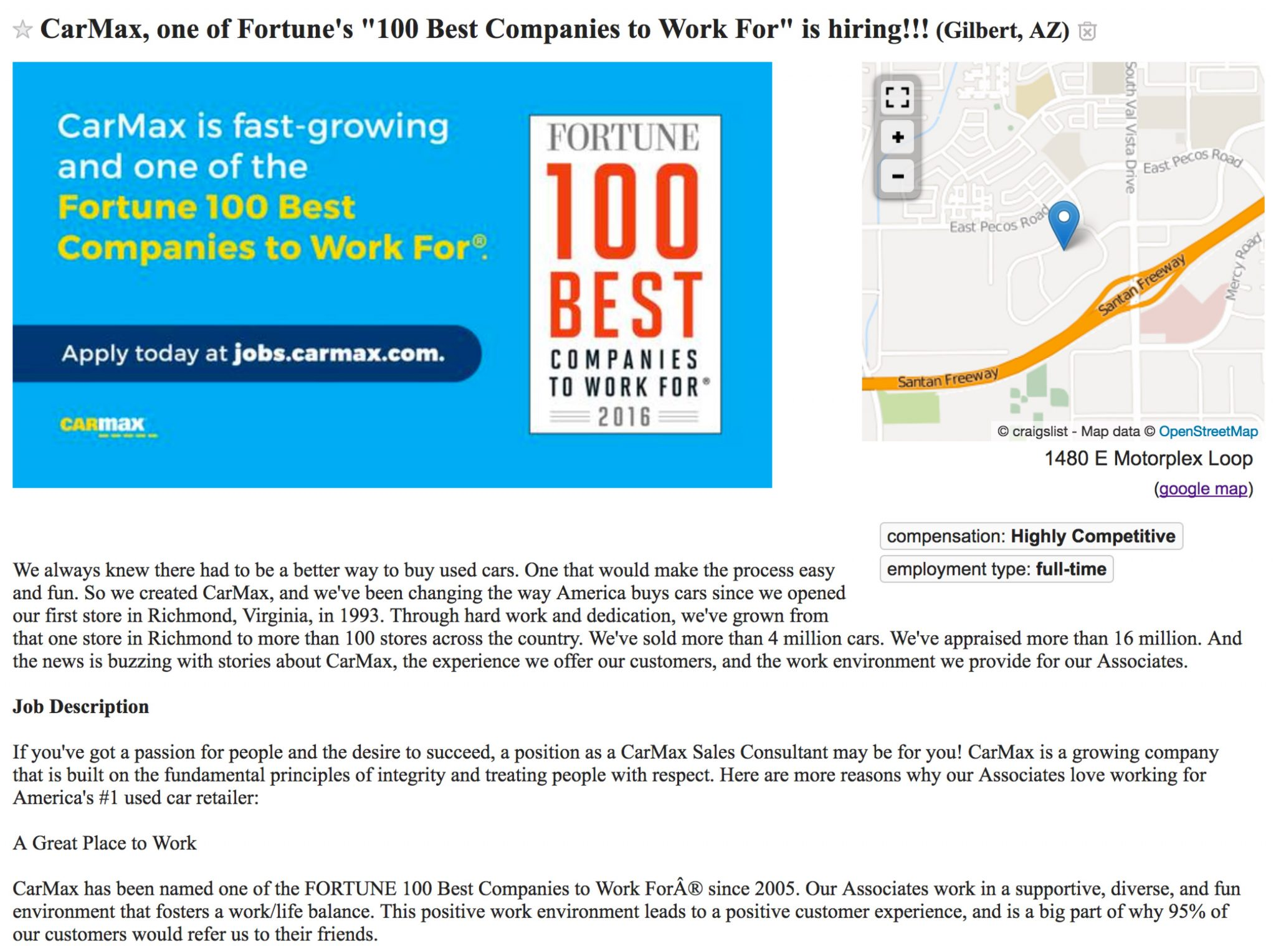 carmax-job-ad-on-craigslist-with-map-and-employer-of-choice-and map media