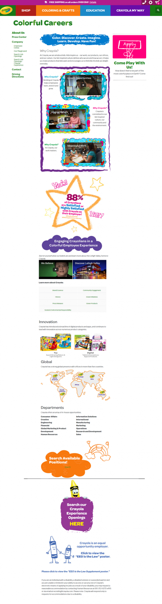 Crayola Company Career Site