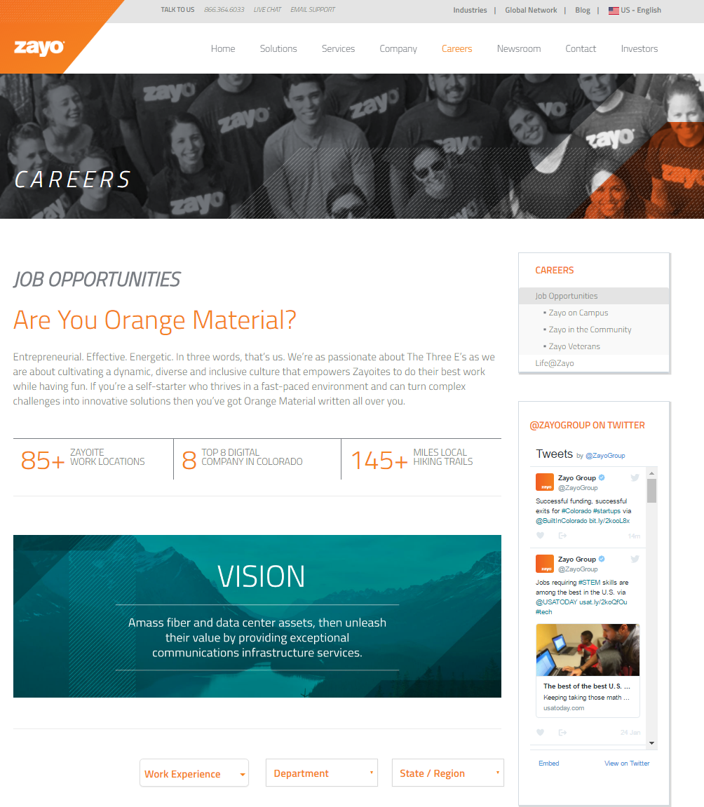 Zayo Company Career Site