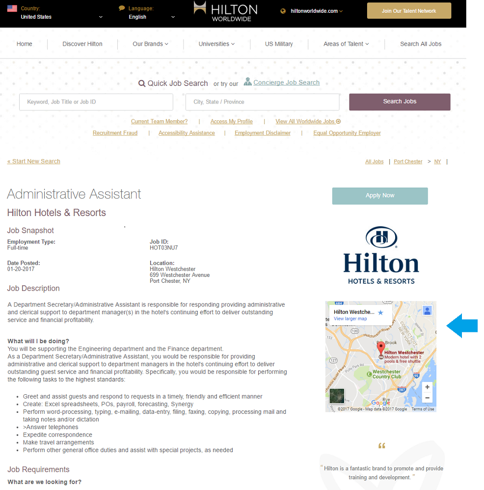 Hilton Administrative Assistant Job Description