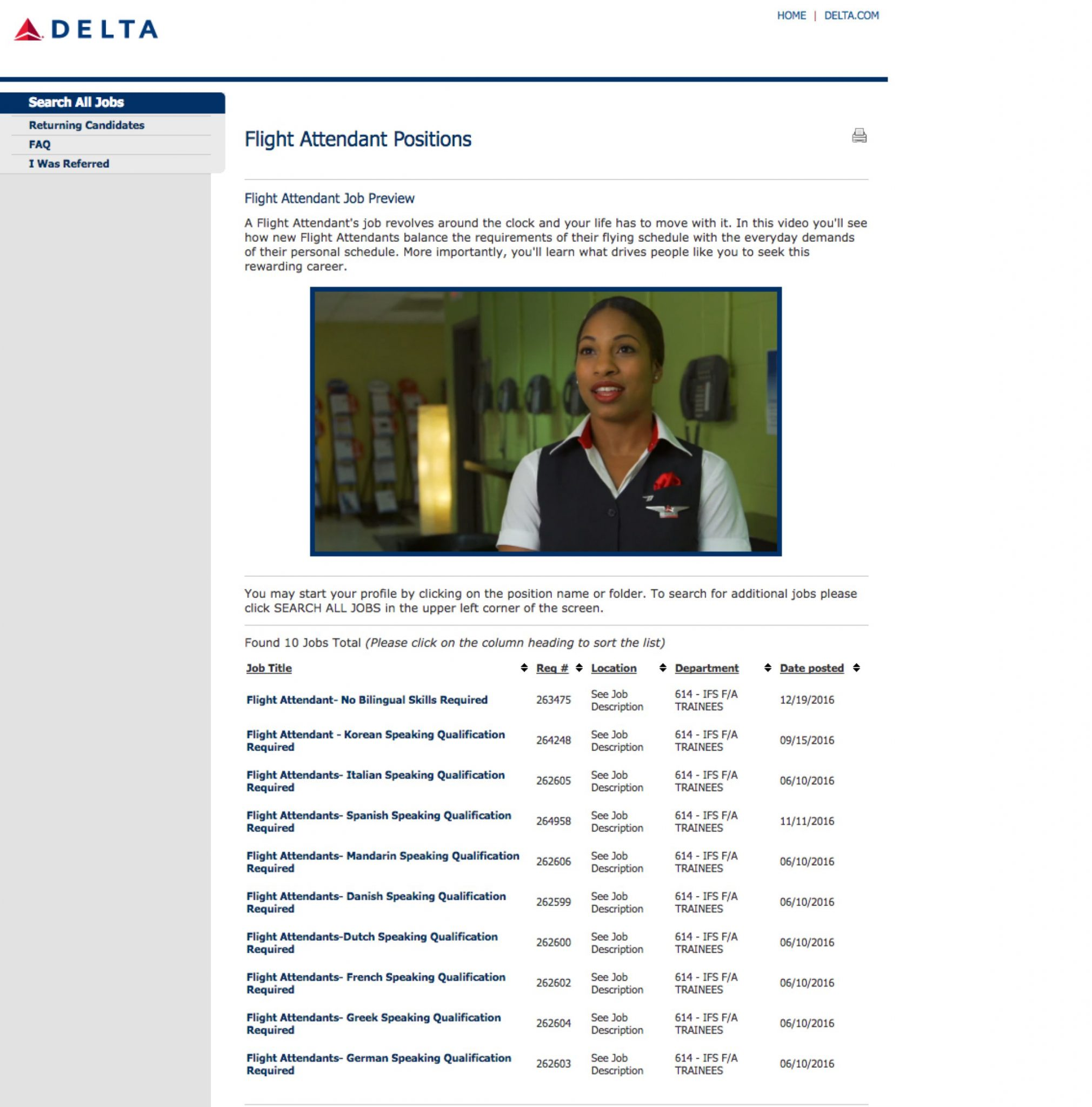 Delta Video Job Previews Flight Attendants | Ongig Blog