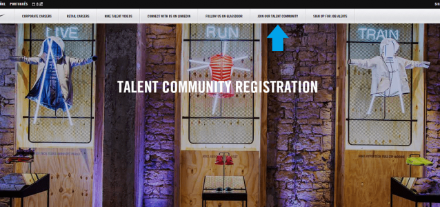 Talent Community Above Fold Nike