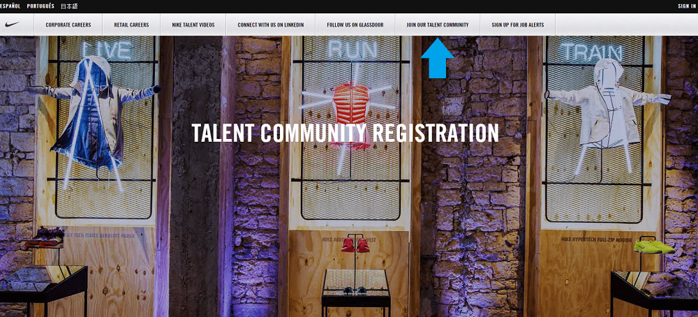 Talent Community Above Fold Nike - Ongig Blog