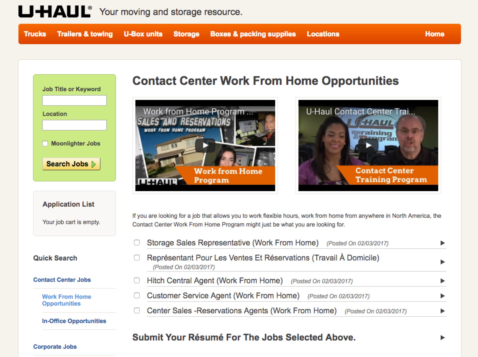Work from Home Virtual Microsite | U-Haul | Ongig Blog