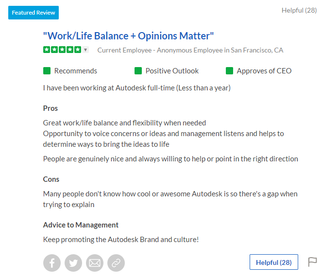 Autodesk Glassdoor Employee Review - Ongig