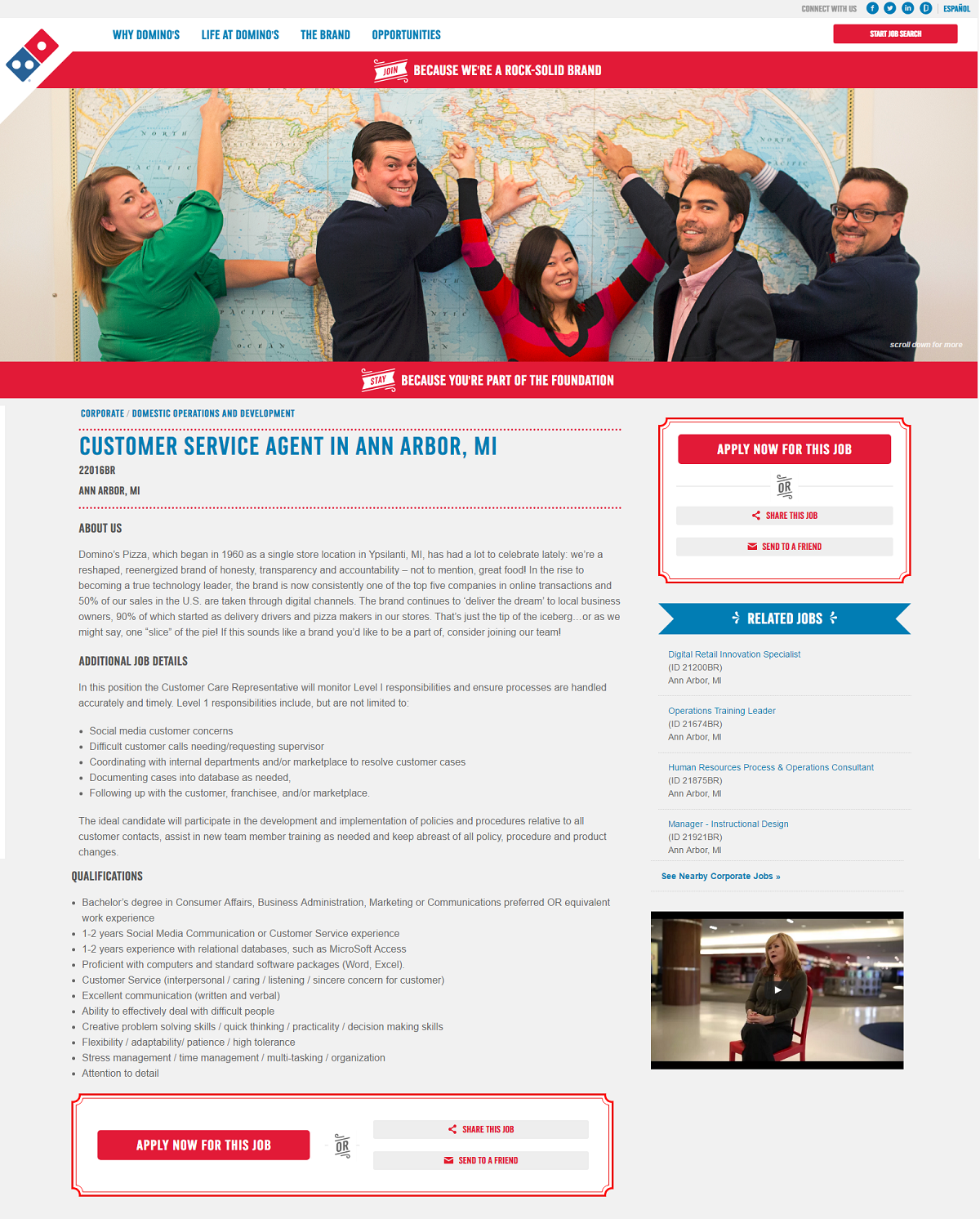 Customer Service Job Ad Domino's