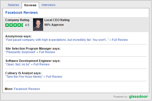 Glassdoor Widget on Job Descriptions