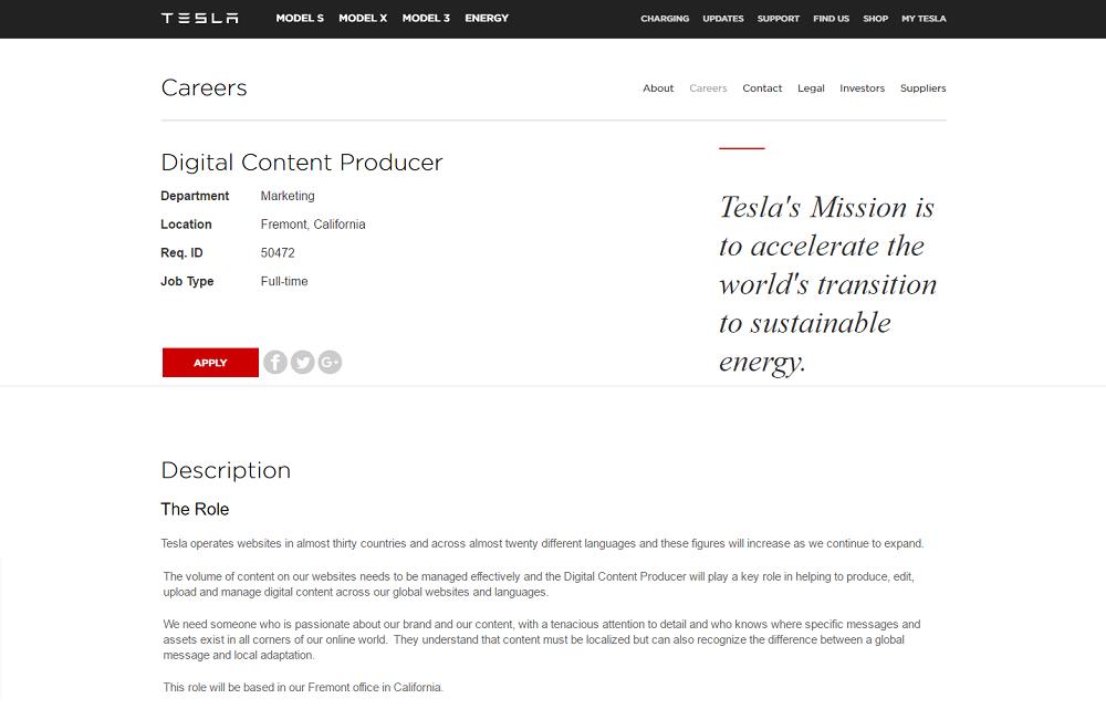 Tesla Job Description with Mission Statement - Ongig