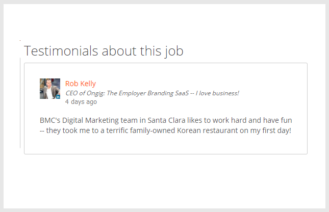 Add live testimonials to your job descriptions with Ongig.