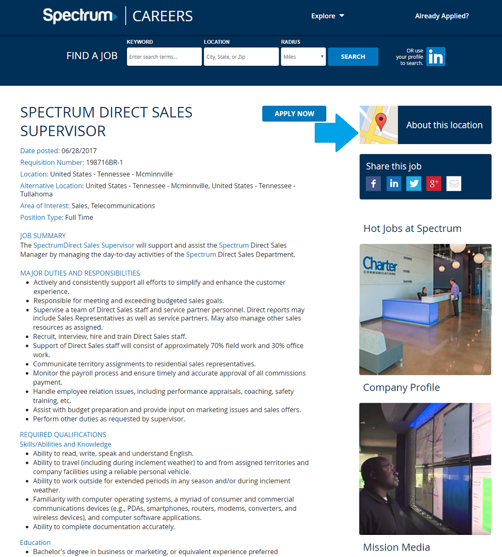 Charter Spectrum job description with map