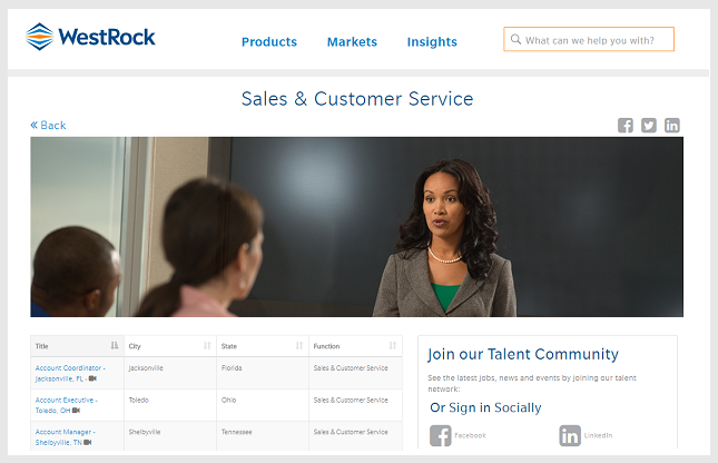 Westrock sales and customer service microsite powered by Ongig.
